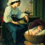 Matka i  śpiące dziecko_kopia obrazu Artura Ricci_93x81cm